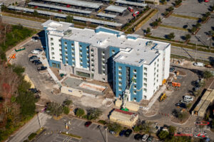 aerial photo of towne place suites by marriott hotel construction in orlando