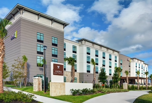 exterior of home2 suites by hilton in melbourne viera florida